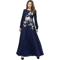 Dubai Embroidered Muslim Kaftan for Women Long Sleeve Abaya Dress Islamic Clothing Girls Arabic Caftan Jalabiya