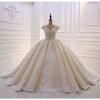 2019 Hot Sale Long Train Cap Sleeve Ball Gown Wedding Dress Amanda Novias