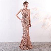 Waist Hollow Out Maxi Dress New Paillette Embroidered Sequin Neckline Gown sequin dress Slim evening dresses