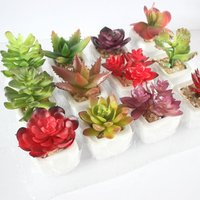 Mini simulation succulent bonsai artificial flower creative ornamental plant with pots