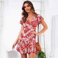 2019 Summer Short Dress Floral Print Casual Sexy Boho Dress Women Dresses New Color Beach Party Sundress