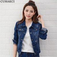 Autumn Turn Down Collar Jeans Women Jacket Single Breasted Slim Short Denim Jackets Female Coat Vintage Outwear