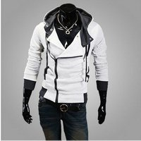Large size trade hot sale Mens hooded sweater coat fashion cardigan Slim male zipper sweater Diagonal zipper hooded sweater