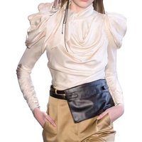MOLI Satin Womens Shirts Blouse Women Puff Long Sleeve Lace Up Big Sizes Tops Female Autumn Fashion Clothing 2019 New