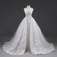 V-neck Appliques Sleeveless Detachable train Bridal Ball Gown Wedding Dress