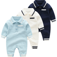 High end polo collar knitted baby romper baby boy clothing RL190045