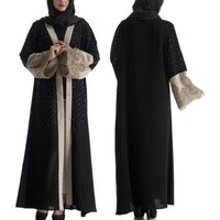 YSMARKET Muslim Women Lace Patchwork With Pearls Cardigan Robes Dress Dubai Turkish Abaya Islamic Ladies Casual Long Dresses