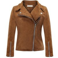 S- 5xl Elegant Autumn Winter Zipper Basic Suede Coat Motorcycle Jacket Women Outwear Slim Short Jackets Y11283