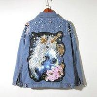 SP2948A  Spring Fall Pearl Beading Unicorn Jeans Coat  Women Denim Jacket