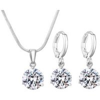 Simple Classic Cheap 18K White Gold Plated Round Cut CZ Ruby Crystal Diamond Wedding Necklace and Earrings Set Jewelry Set