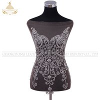 DRA-208 Wholesale silver crystal appliques nude mesh wedding dress  rhinestone bodices patches