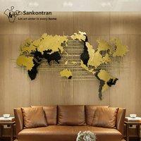 Handmade Home Decoration 3D Large Wall Hanging Decor Metal World Map