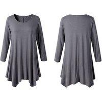 New Fashion Long Sleeve Solid Tunic Dress Women Plus Size Long Tunic Tops