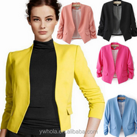 Candy Color Women Long Sleeve Slim Blazer Trendy Suit Jacket