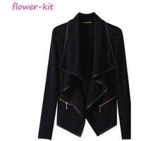 PU Leather Zippers Wadded Coat Women Winter, Long Leather Female Jacket For Women