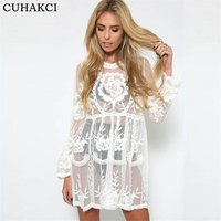 CUHAKCI 2018 Boho Style Womens Cover Up White Lace Hollow Crochet Beach Dress See-through Beach Mini Dress