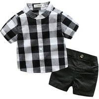 children infants clothing 2019 Summer Childrens New Europe and the United Kingdom British Boys Plaid Short Sleeve Suit