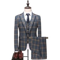 Detex Garment Manufacturer Light Gray Blue Wedding Check Suit Set Blazer For Men