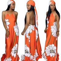 Fashion Sexy Summer Women Scarf Off Shoulder Halter Maxi Plus Size Ladies Print Club Loose Beach Dress