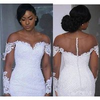 ZH3575G New African Mermaid Wedding Dresses Sexy Illusion Chapel Bridal Gowns Applique Long Sleeve Crew Neckline Lace Vestido