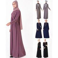 2019 new modern comfortable muslim fashion design lace abaya chiffon muslimah maxi dress