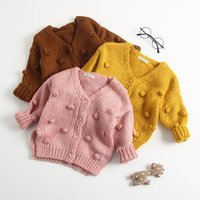 Autumn/Winter Female Breathable Cotton Soft Solid Knit Baby Sweater Cardigan