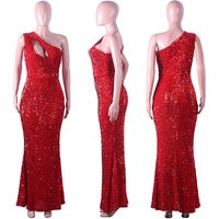 Red women sequins sexy party long evening dress