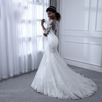 Customized Sexy Backless Dress 2019 Latest Design Black Women Mermaid wedding Dress Bridal Gown with half sleeves