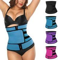 Women Neoprene Slimming Waist Trainer Zipper Belt No Boning Custom Corset Trimmer Belt Body Shaper Black Blue Purple Red S-3XL