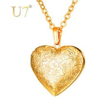 U7 Free Shipping Valentines Gift Antique Jewelry 18K Gold Plated Women Picture Heart Locket Necklace