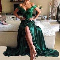 Wholesale Emerald Green High Split Prom Dresses Sexy Backless Women Long Evening Dress Turkey