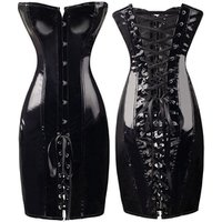 Gothic Womens Sexy Wetlook PVC Faux Leather Corset Dress Long Slim Bustiers Overbust Corsets
