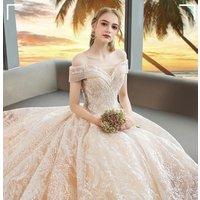 2019  French style V-neck design exquisite skinny vintage wedding dress