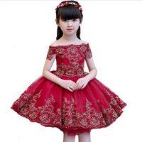 Princess dress kids evening dress fluffy kids  wedding girl flower  dress 2019 new style