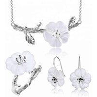 Lotus Fun Cherry Flower in the Rain With Pendant Necklace Ring Drop Earring 925 Sterling Sliver Crystal Jewelry Set For Women