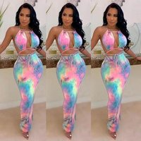2019 hot sell CC1160 women fashion sexy backless tie dye print pencil dress