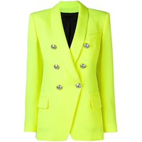 Women Front Pockests double breasted Buttons Fluorescent yellow office fancy trench blazer jacket coat