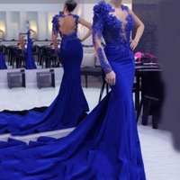 ZH0863X Royal Blue One Long Sleeve Formal Mermaid Prom Dresses 2019 Evening Gowns Cocktail Party Dresses