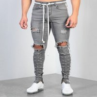 Mens stretch jeans grey Tight trousers stripes Feet zipper bieke skinny fit male knees destroyed denim pants hole new style