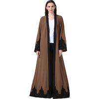 Zakiyyah 1545 women clothing dress front open abaya models dubai kaftan fabric with lace and belt