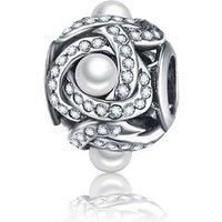 'Pure 925 Sterling Silver Luminous Love Knot Pearl Charm Beads Fit Original Pandora Bracelets Statement Jewelry Psmb0923