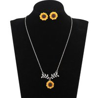 Sunflower Earrings And Necklace Leaf Tiny Flower  Women Jewelry Set