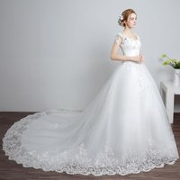 New Arrival Lace Up back White Long Train Bridal Wedding Dress wedding Gown