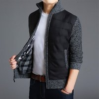 2019 classic long sleeve man thick knitting cardigan zip up open front casual warm fashion cool fur coat jacket cheap wholesale