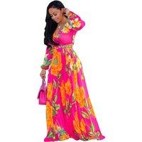 2019 Women Lady Fashion Cloth Long Sleeve Printed Sexy V Neck Chiffon Casual Summer Floral Long Maxi Dress