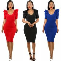 Sexy Party Dress Women Summer Ruffle Short Sleeve Back Zip Elegant Bodycon Dress Black Navy Red Pencil Dresses