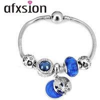 'Afxsion 2019 New Jewelry Diy Bead Bracelet Pandora Charms Stainless Steel Charm Bracelet  Women