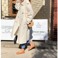 Womens Causal Double Breasted Spring Fall Long Trench Coat with Belt british style Beige camel trench coats