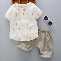 Summer New Boy Cotton Linen Short-Sleeved Shirt Set Baby Infant Children Summer Two-Piece Suit