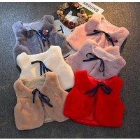 Girl Knit Outerwear Baby Winter Clothes Faux fox Fur Vests Girls Kids Waistcoats Vest